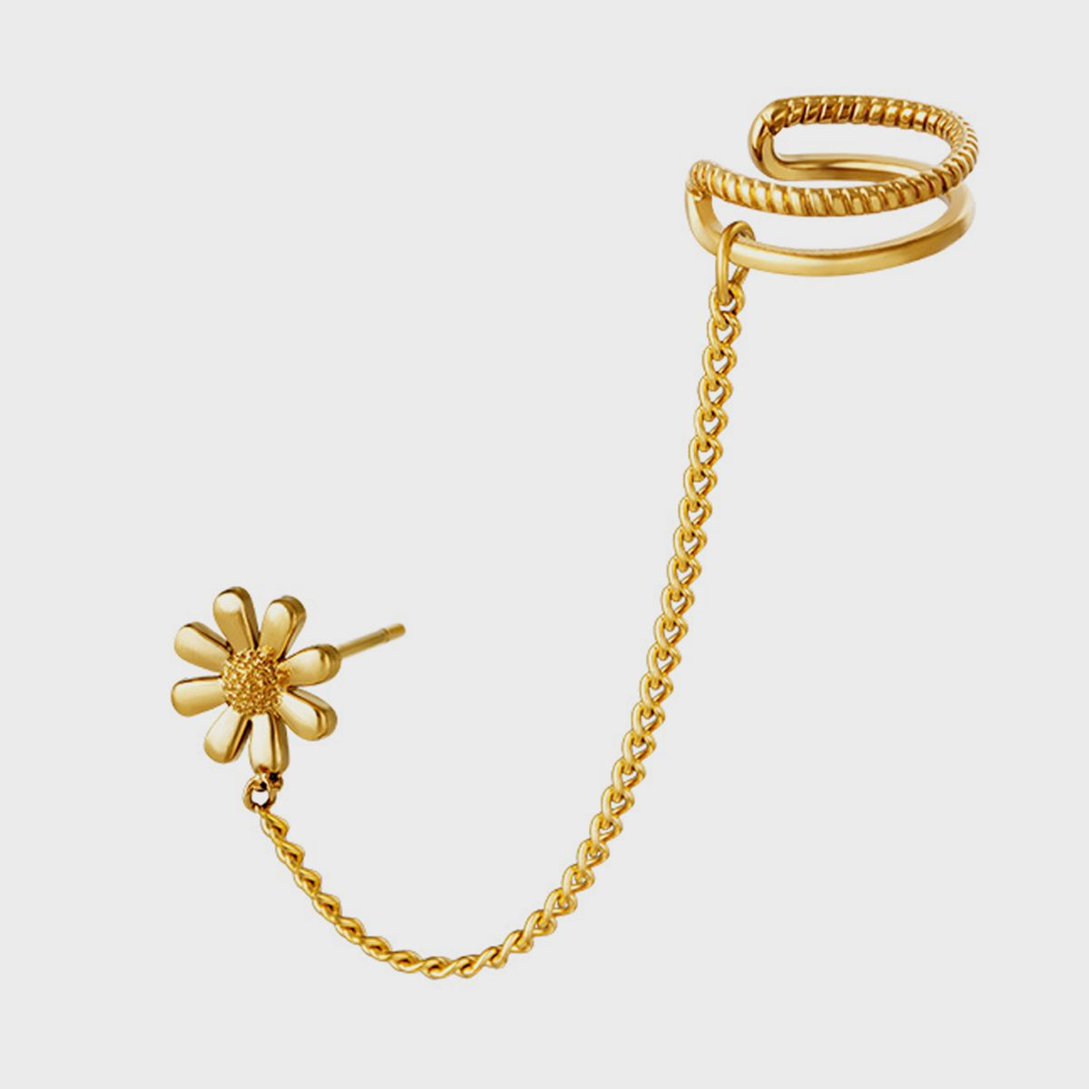 Chained Double Earcuff x Daisy stud
