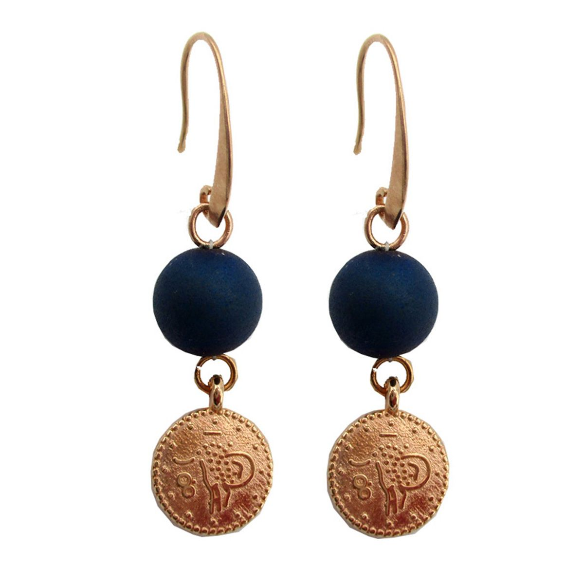 Cleopatra  Rose Gold Gem Coin Earrings