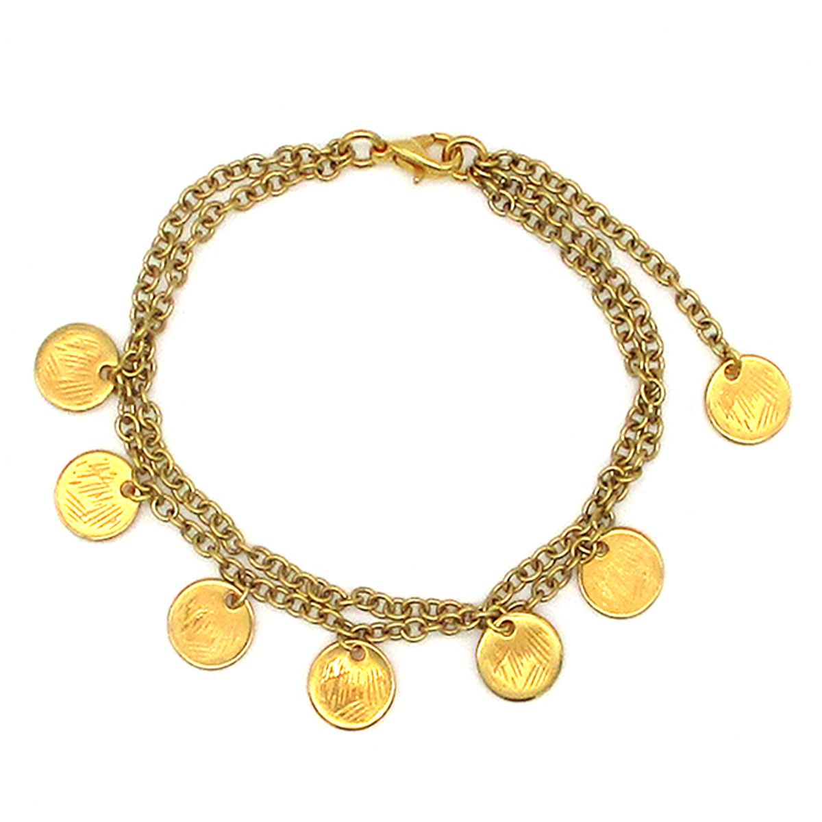 Europa double chain gold coin bracelet