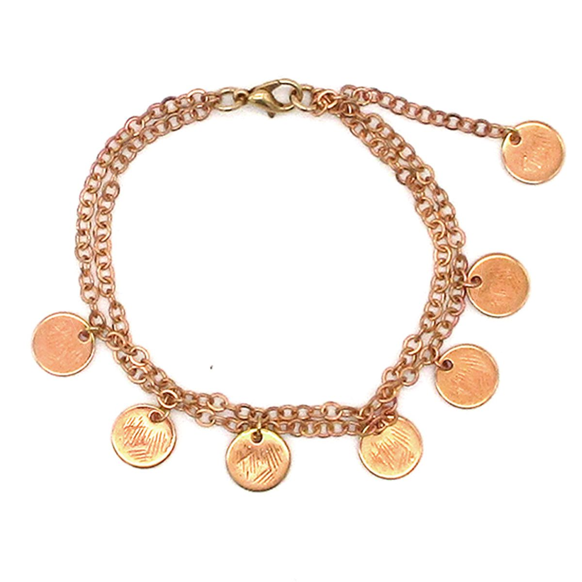 Europa double chain Rose Gold coin bracelet