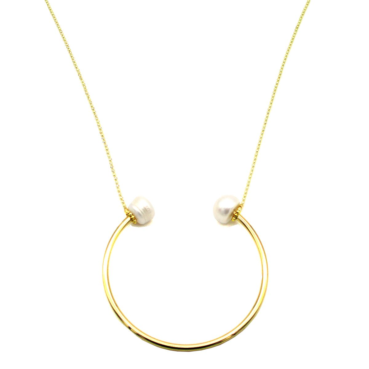 Calypso Real Pearl Gold U Necklace