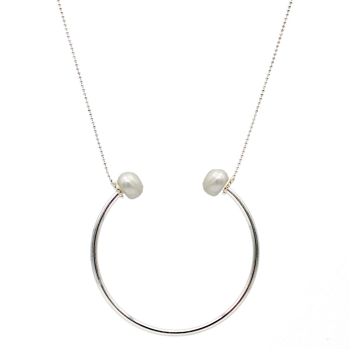 Calypso real Pearl Silver U necklace