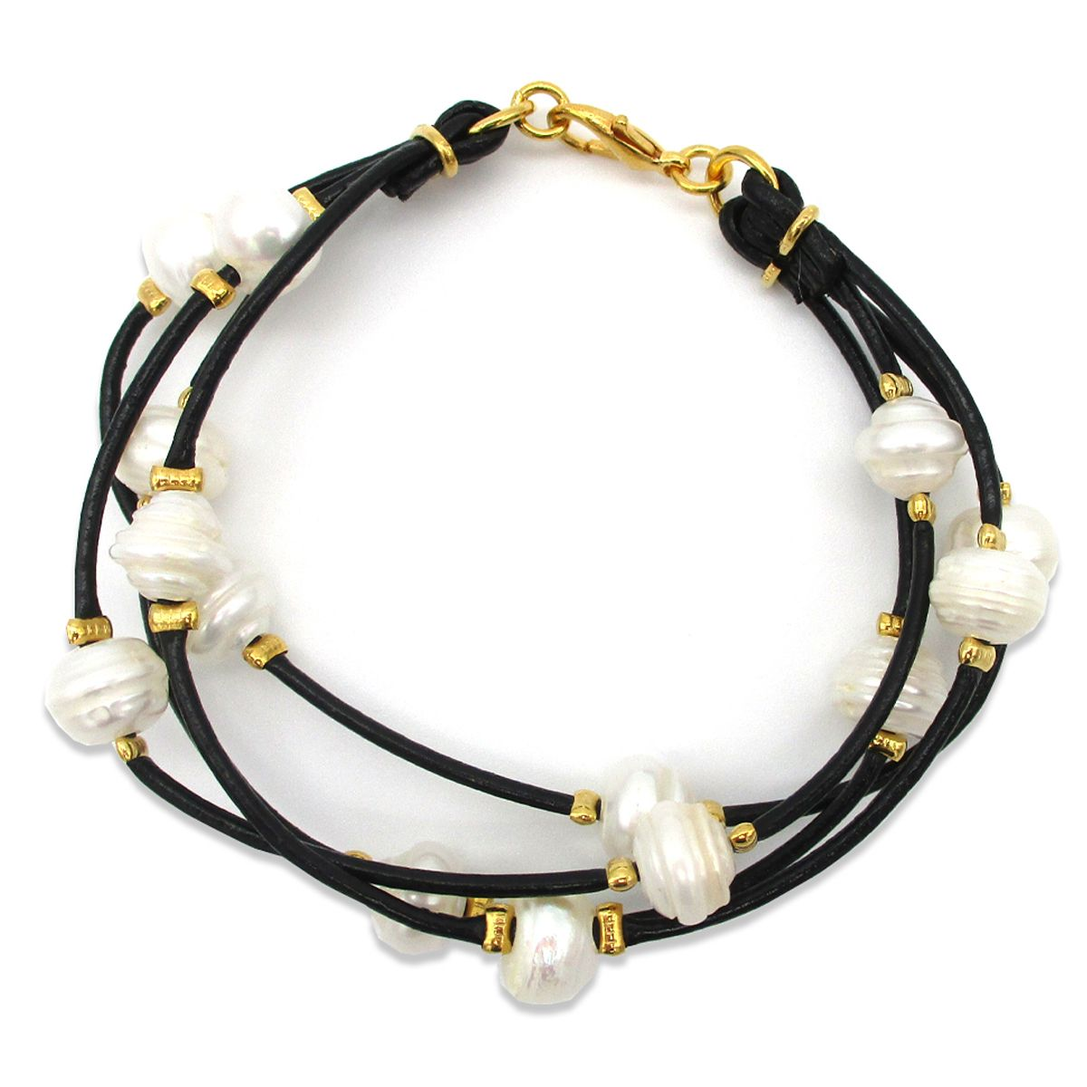 Clio leather multi strand real Pearls bracelet